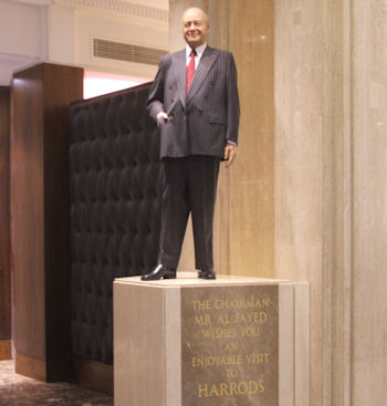 Statue of the former Harrods Chairman Mr Al Fayed